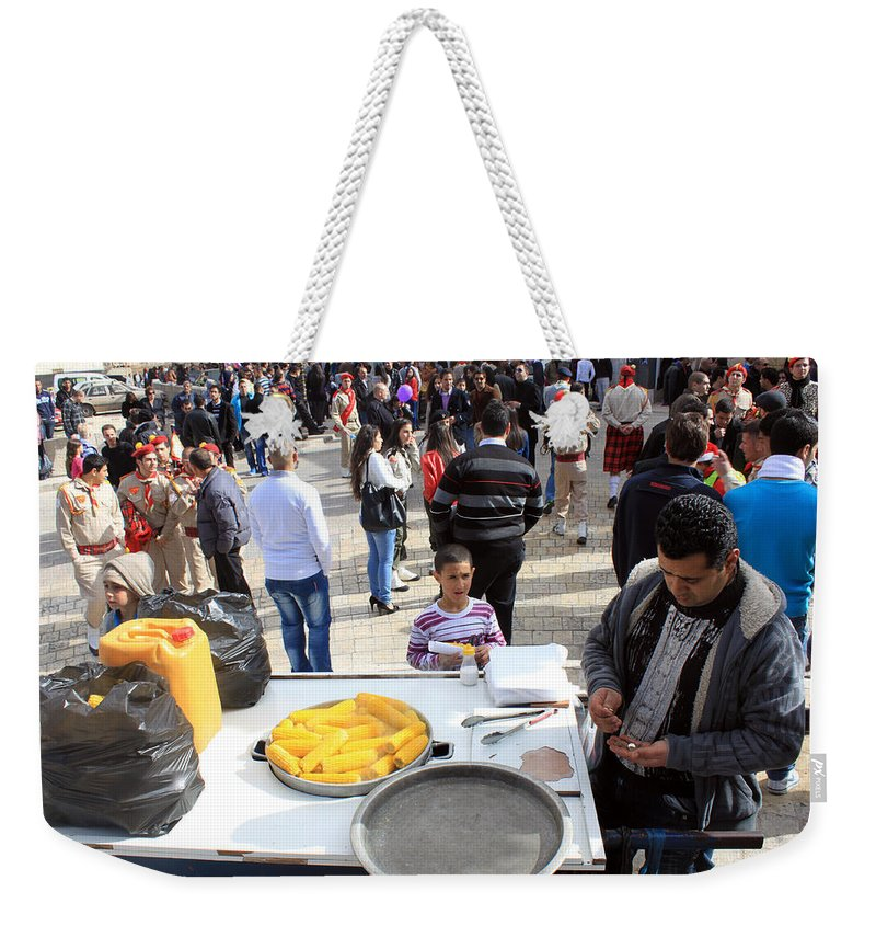 Corn Weekender Tote Bag featuring the photograph Corn Of The Cob Salesman by Munir Alawi