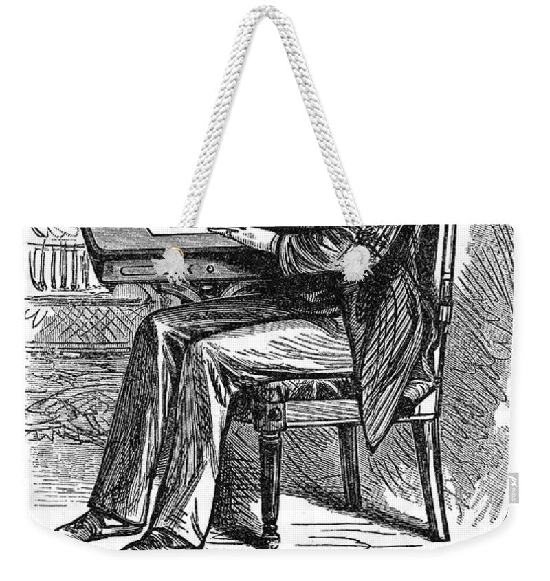 1880 Weekender Tote Bag featuring the photograph Correct Writing Position by Granger