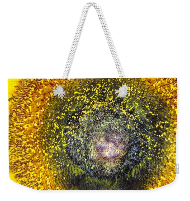 Sunflower Weekender Tote Bag featuring the photograph Cosmic by Shannon Grissom