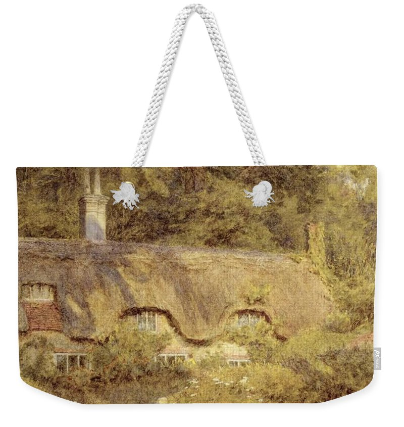 Child; Gate; Rural Scene; Country; Countryside; Home; Path; Garden; House; Wildflowers; Chicken; Picturesque; Idyllic; Female Weekender Tote Bag featuring the painting Cottage At Farringford Isle Of Wight by Helen Allingham