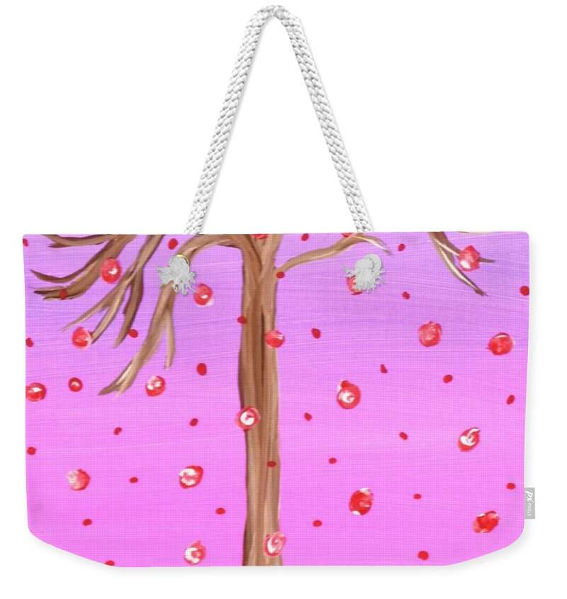 Cotton Candy Weekender Tote Bag featuring the painting Cotton Candy Sky Wishing Tree by Alys Caviness-Gober