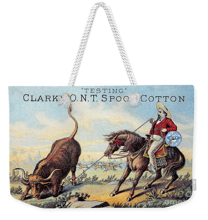 1880s Weekender Tote Bag featuring the photograph Cotton Thread Trade Card by Granger