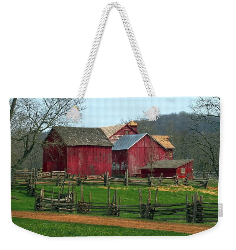 Barns Weekender Tote Bag featuring the photograph Country Barns by Dave Mills