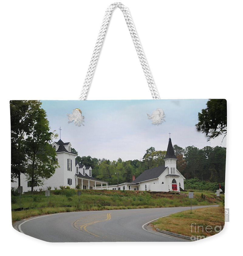 Church Weekender Tote Bag featuring the photograph Country Church In Texture by Jost Houk