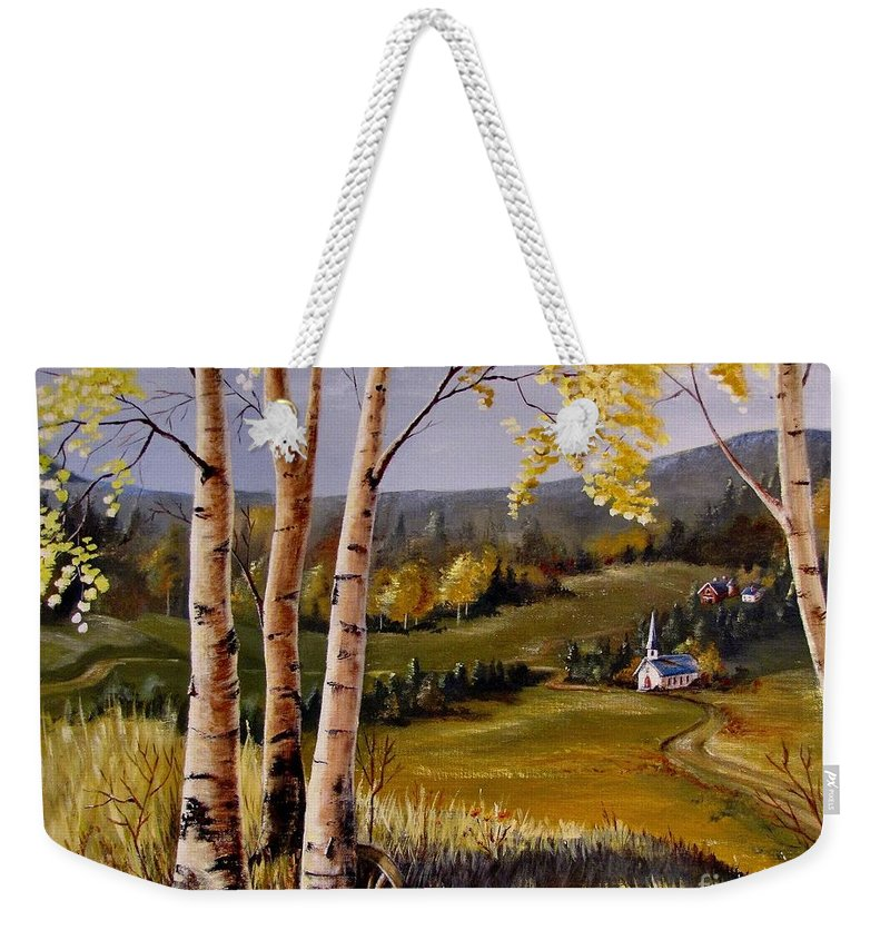 Country Church Weekender Tote Bag featuring the painting Country Church by Marilyn Smith
