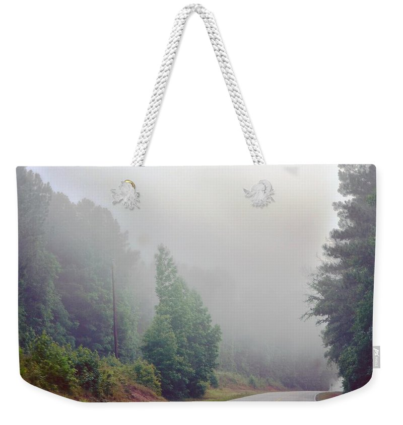 Country Weekender Tote Bag featuring the photograph Country Road Fog by Maria Urso