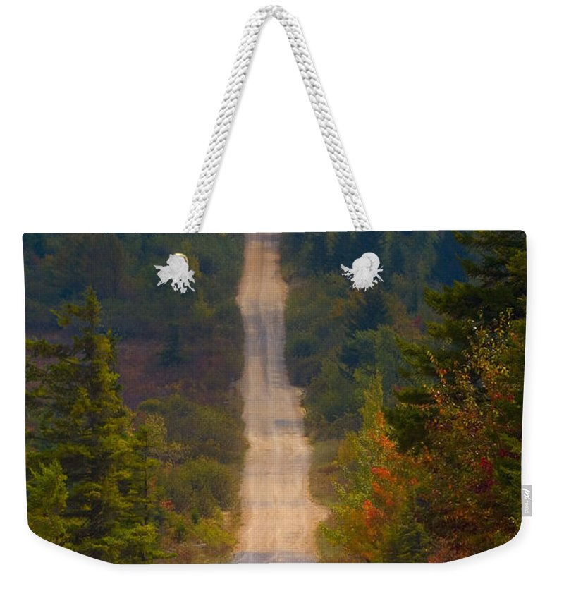 Autumn Weekender Tote Bag featuring the photograph Country Roads by Ron Jones