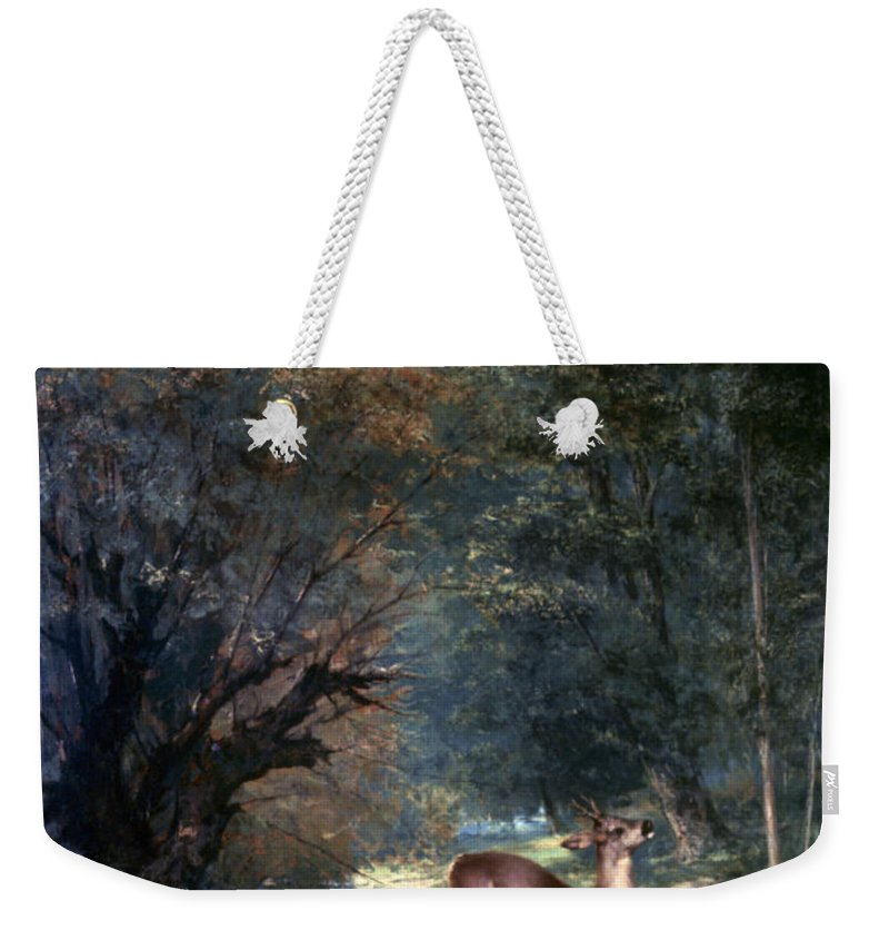 1866 Weekender Tote Bag featuring the photograph Courbet: Hunted Deer, 1866 by Granger