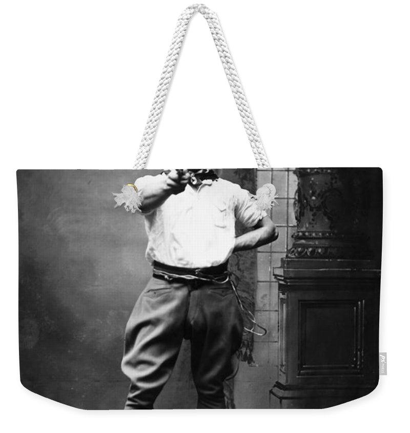 1880 Weekender Tote Bag featuring the photograph Cowboy, 1880 by Granger