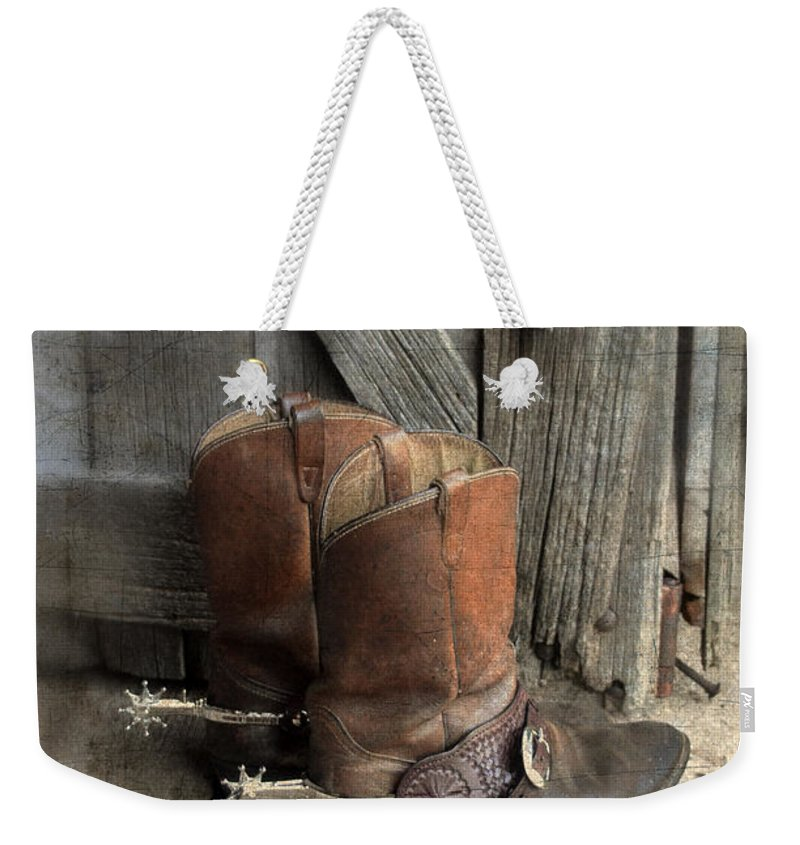 Cowboy Boots Weekender Tote Bag featuring the photograph Cowboy Boots With Spurs by Jill Battaglia