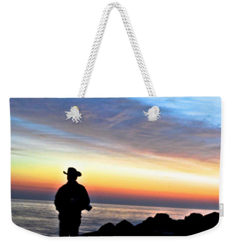 Jersey Shore Weekender Tote Bag featuring the digital art Cowboy Sunrise by Danielle Summa