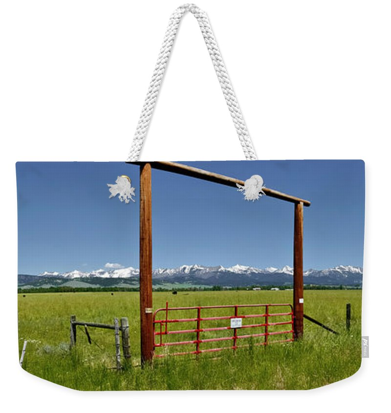 Americas Weekender Tote Bag featuring the photograph Crazy Mountain Ranch Gate by Roderick Bley