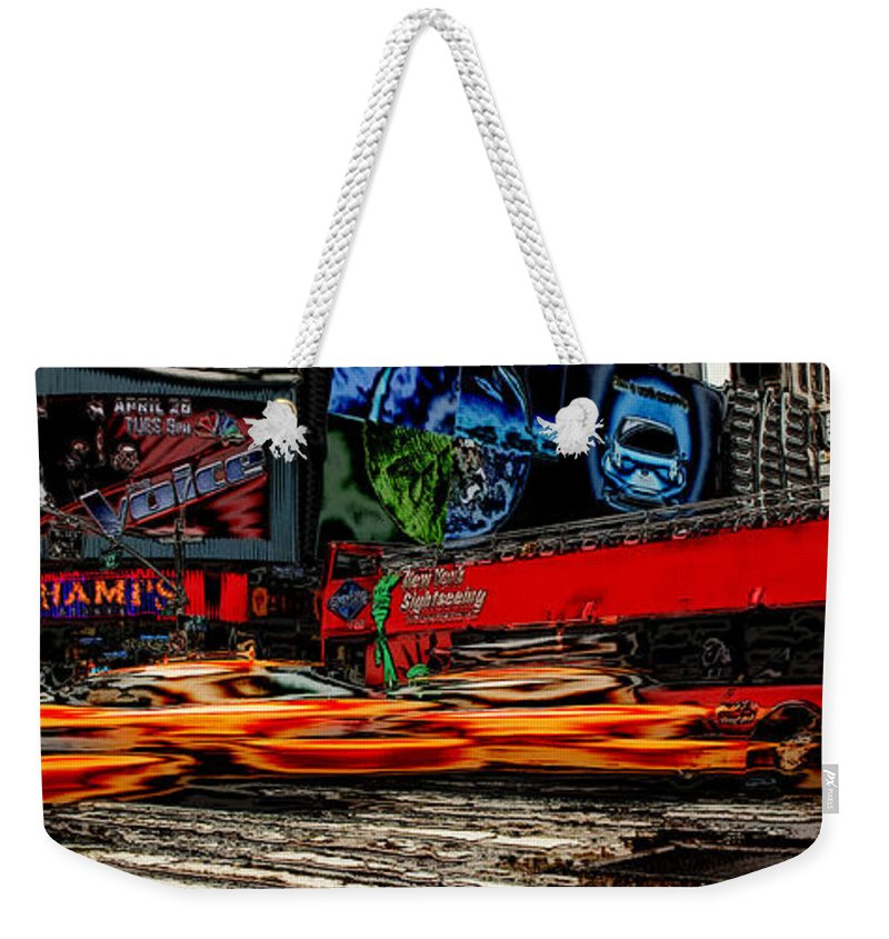 New York Weekender Tote Bag featuring the photograph Crazy New York by Andrew Fare