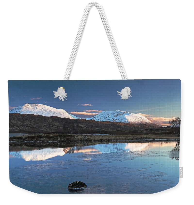 Scotland Weekender Tote Bag featuring the digital art Crianlarich Sunset by Pat Speirs