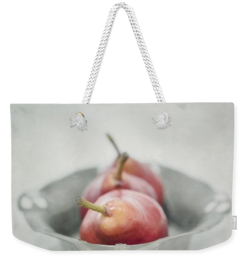 Pear Weekender Tote Bag featuring the photograph Crimson And Silver by Priska Wettstein