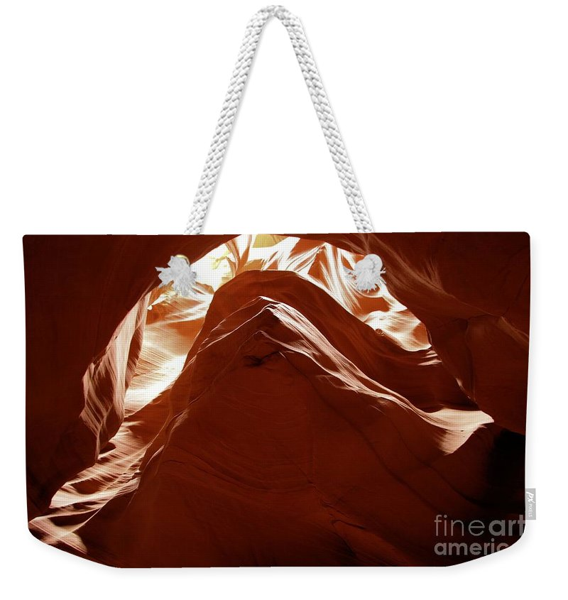 Antelope Canyon Weekender Tote Bag featuring the photograph Crinkle by Adam Jewell