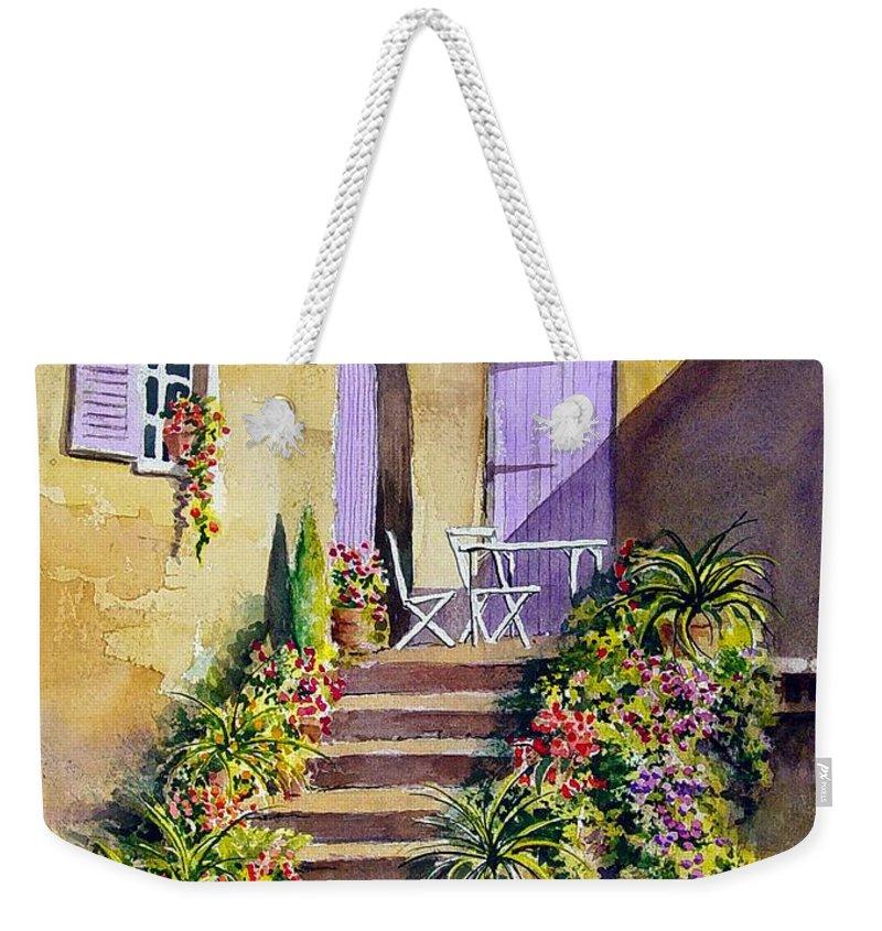 Flowers Weekender Tote Bag featuring the painting Crooked Steps and Purple Doors by Sam Sidders