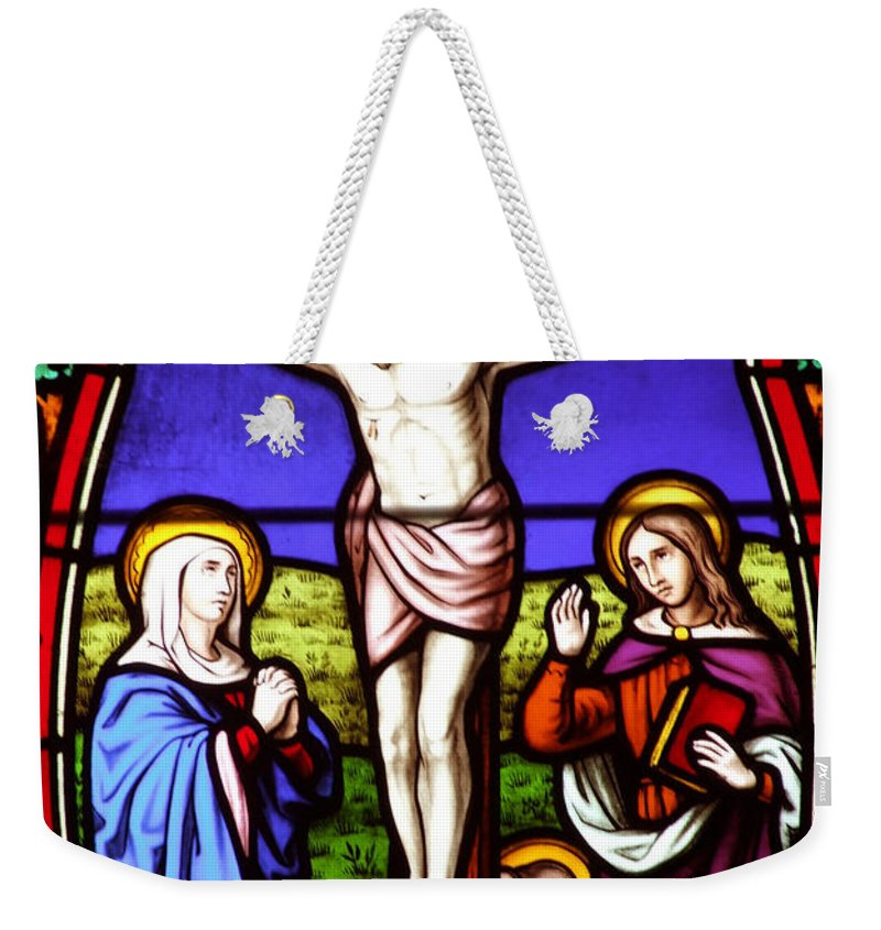 Cross Weekender Tote Bag featuring the photograph Cross Stained Glass by Munir Alawi