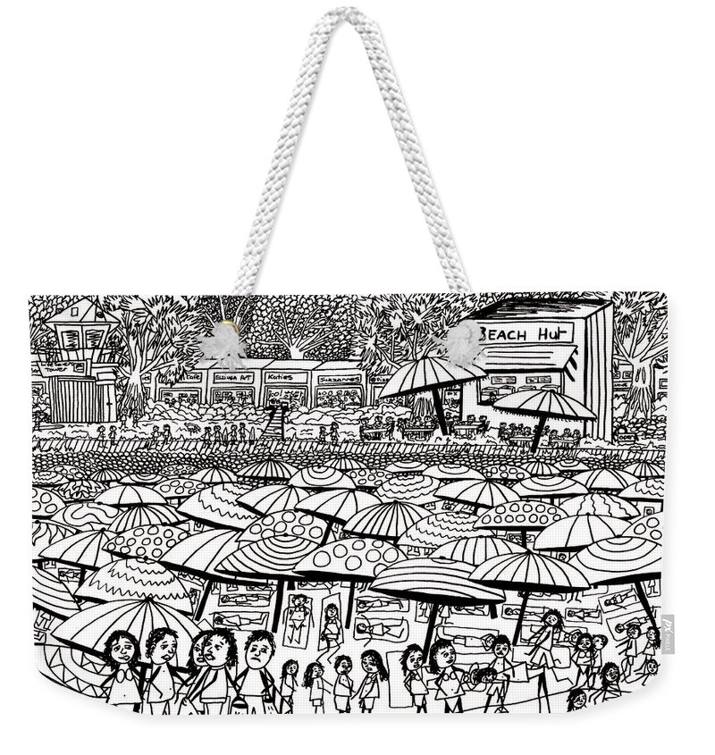 Beach Weekender Tote Bag featuring the drawing Crowded Beach Black And White by Karen Elzinga