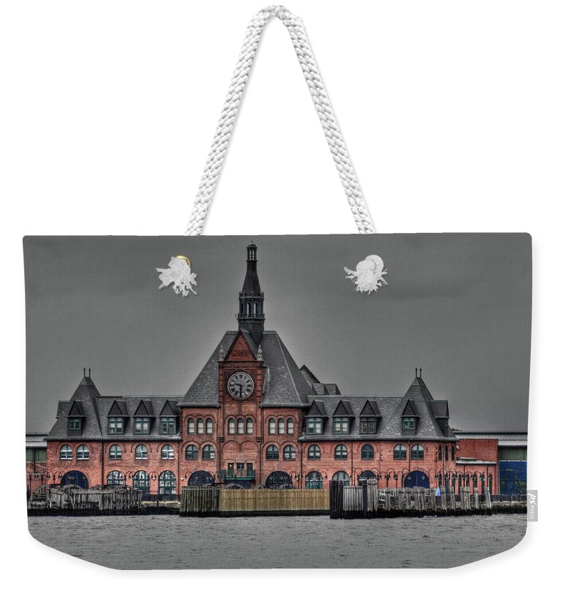 New Jersey Weekender Tote Bag featuring the photograph Crrnj Terminal Hdr by Bill Lindsay