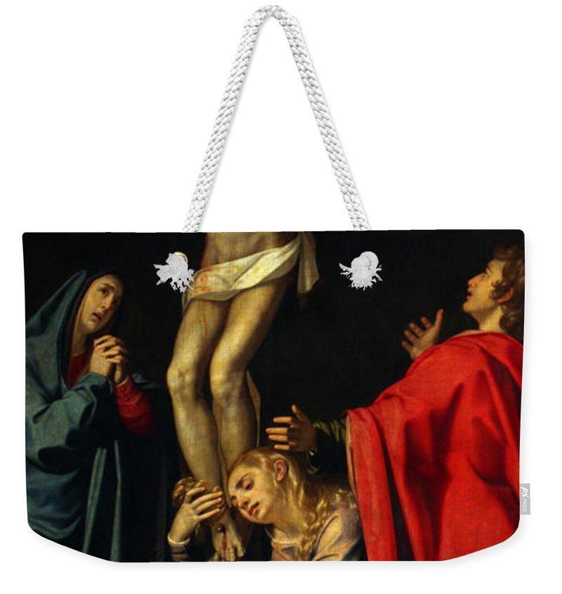 Crucification Weekender Tote Bag featuring the photograph Crucification At Night by Munir Alawi