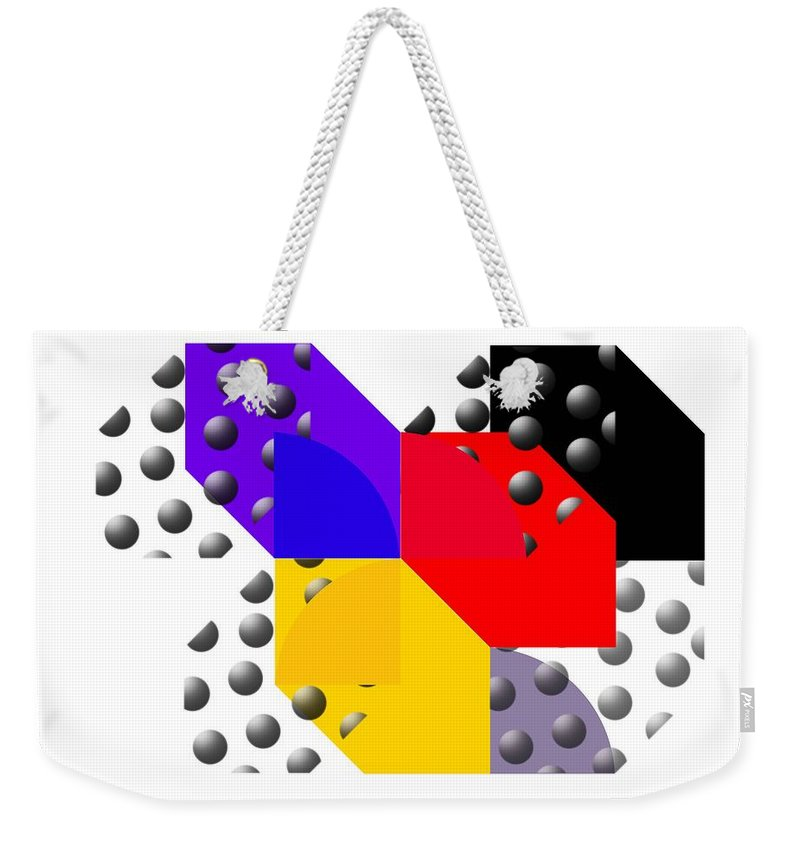 Halftone Weekender Tote Bag featuring the painting Cruella De Stijl by Charles Stuart