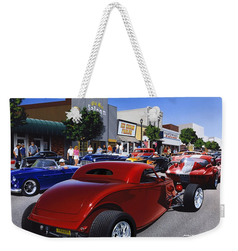 America Weekender Tote Bag featuring the photograph Cruising Main Street by Bruce Kaiser