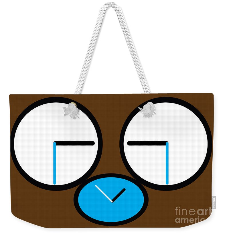 Primate Weekender Tote Bag featuring the digital art Crying Monkey In Clock Faces by Alycia Christine