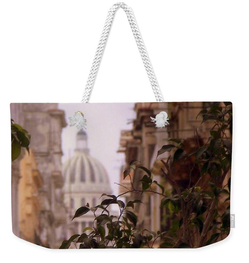 Cuba Weekender Tote Bag featuring the photograph Cuban Romance by Karen Wiles