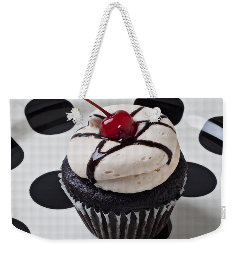 Cupcake Weekender Tote Bag featuring the photograph Cupcake With Cherry by Garry Gay