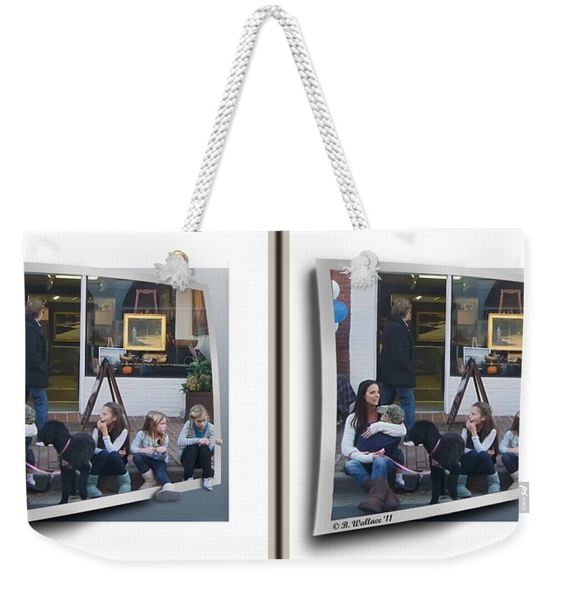3d Weekender Tote Bag featuring the photograph Curb Resting - Gently Cross Your Eyes And Focus On The Middle Image by Brian Wallace