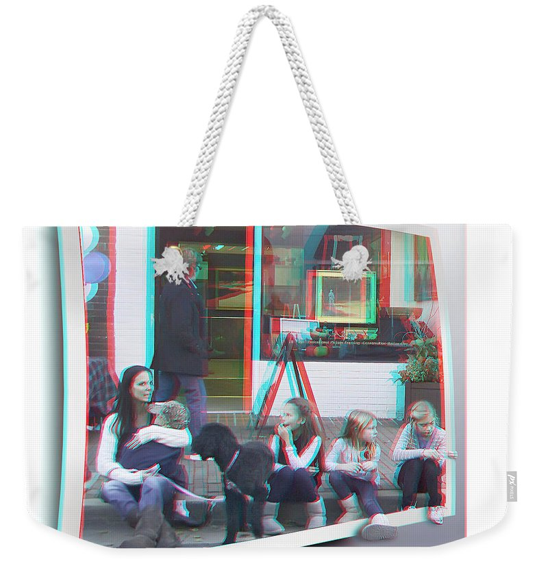 3d Weekender Tote Bag featuring the photograph Curb Resting - Red-cyan 3d Glasses Required by Brian Wallace