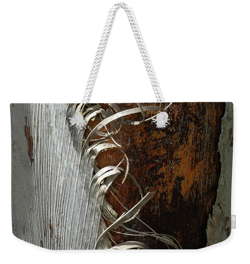 Bark Weekender Tote Bag featuring the photograph Curly Bark Of A Palm Tree by Mike Nellums