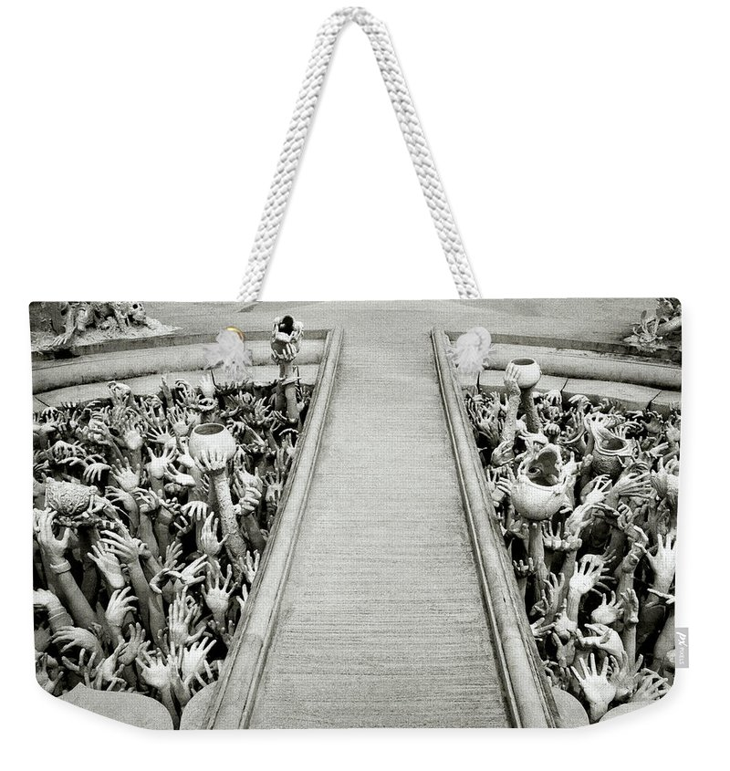 B&w Weekender Tote Bag featuring the photograph Cycle Of Rebirth At Wat Rong Khun In Thailand by Shaun Higson
