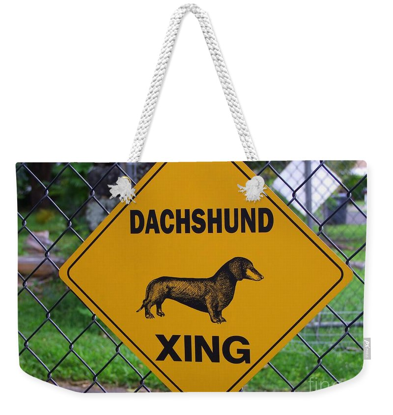 Signs Weekender Tote Bag featuring the photograph Dachshund Crossing by Mary Deal