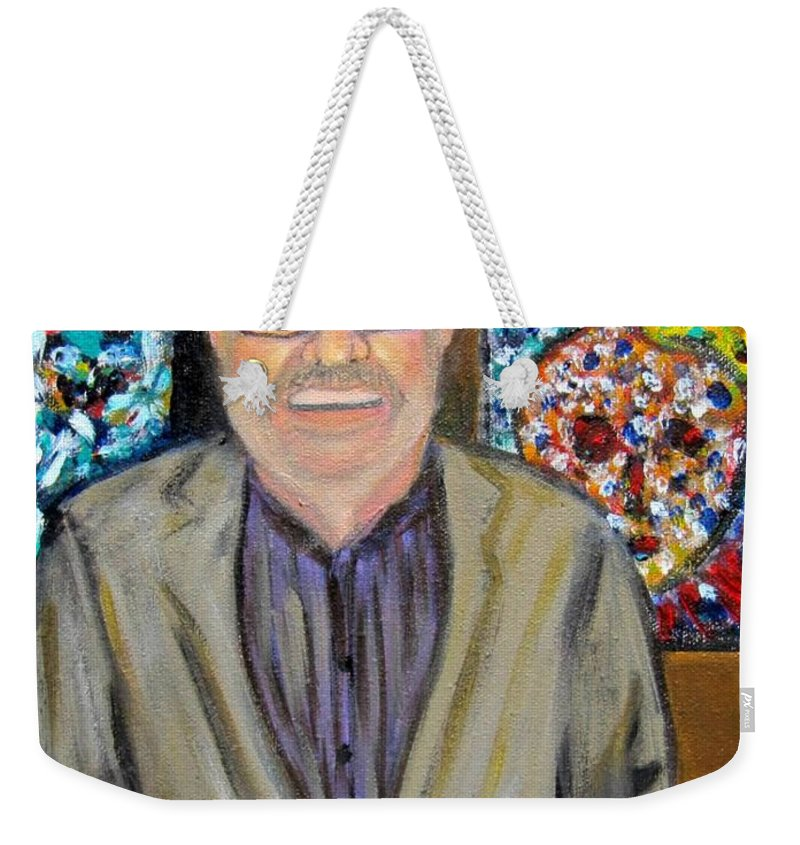 Dad Weekender Tote Bag featuring the painting Dad Shows His Art by Laurie Morgan
