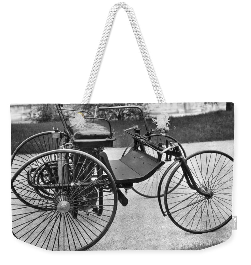 1889 Weekender Tote Bag featuring the photograph Daimler Automobile, 1889 by Granger