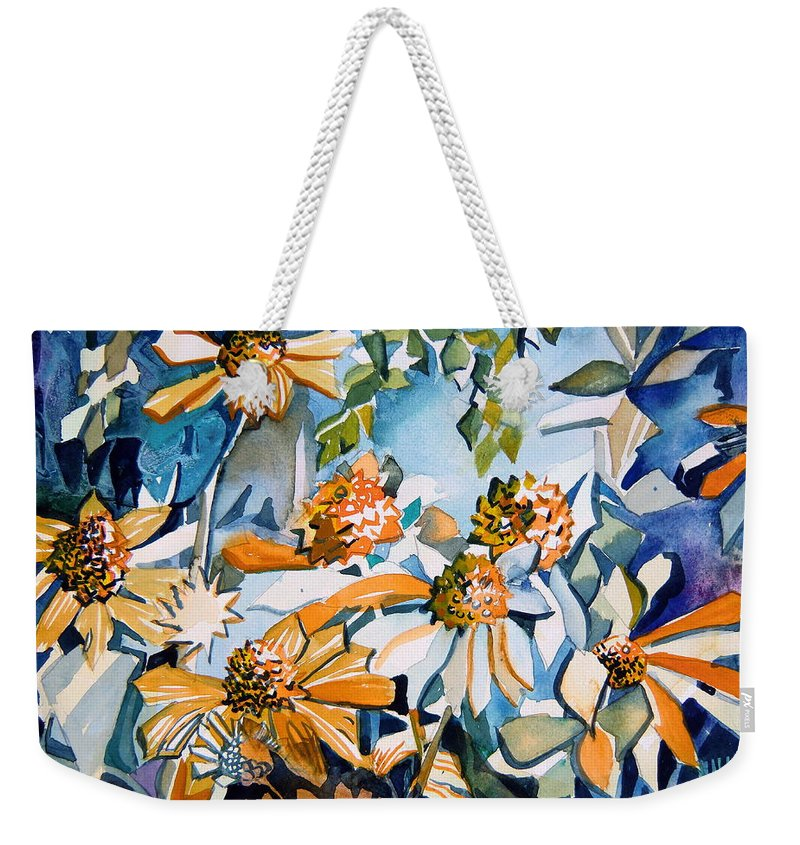 Daisy Weekender Tote Bag featuring the painting Daisy Carnival by Mindy Newman