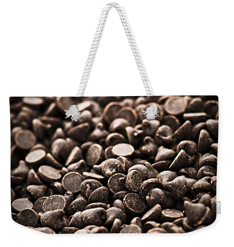 Chocolate Weekender Tote Bag featuring the photograph Dark Chocolate Chips by Elena Elisseeva