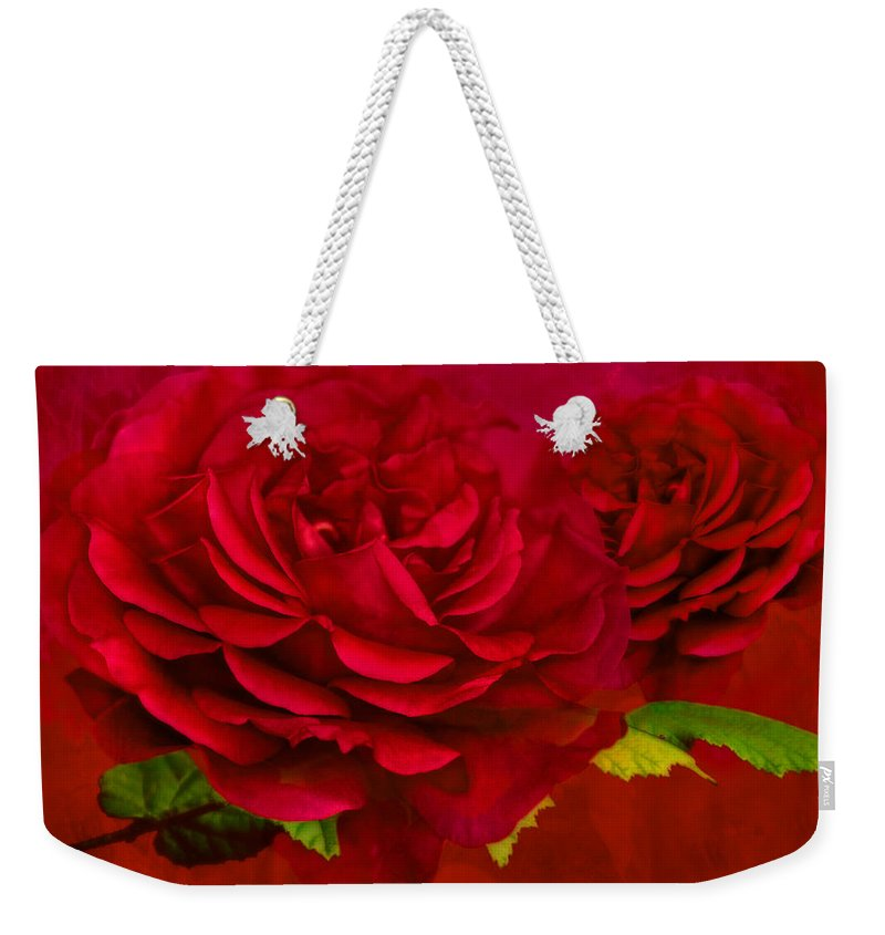 Abstract Weekender Tote Bag featuring the photograph Dark Pink Rose by Steve Purnell