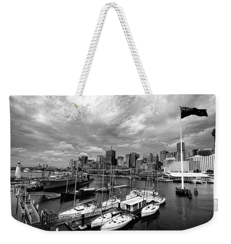 Darling Harbor Weekender Tote Bag featuring the photograph Darling Harbor- Black And White by Douglas Barnard