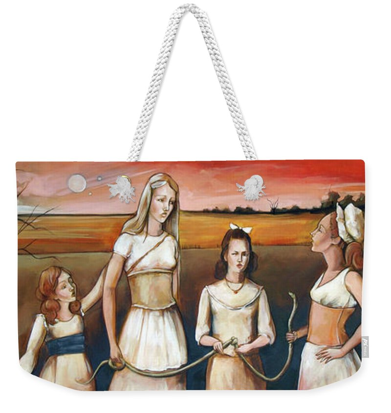 Eve Weekender Tote Bag featuring the painting Daughter's Of Eve by Jacque Hudson