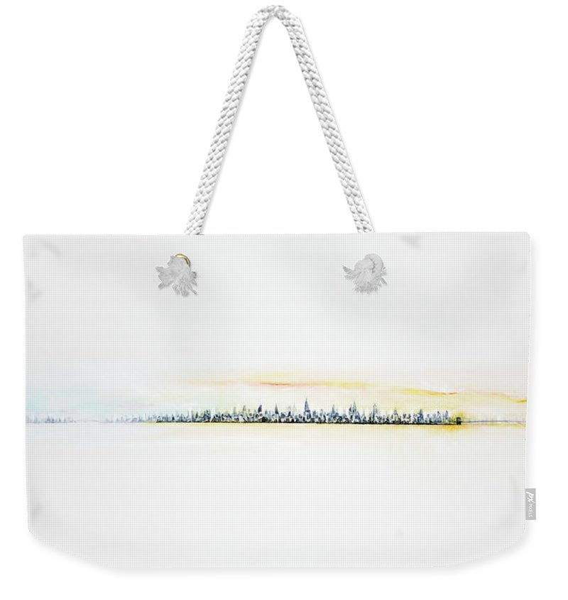 New York City Weekender Tote Bag featuring the painting Dawn Over Nyc by Jack Diamond