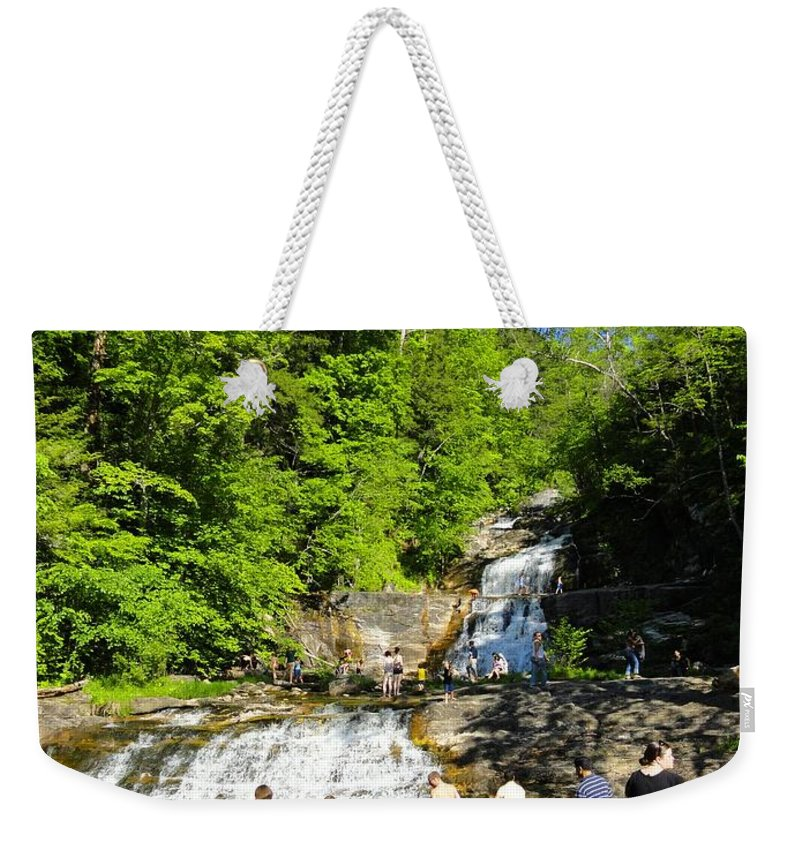 Waterfall Weekender Tote Bag featuring the photograph Day At Kent Falls State Park by Meandering Photography