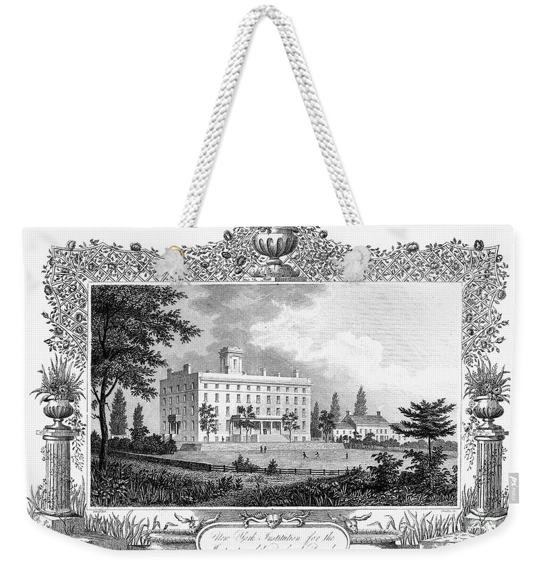 1835 Weekender Tote Bag featuring the photograph Deaf And Dumb Asylum, 1835 by Granger