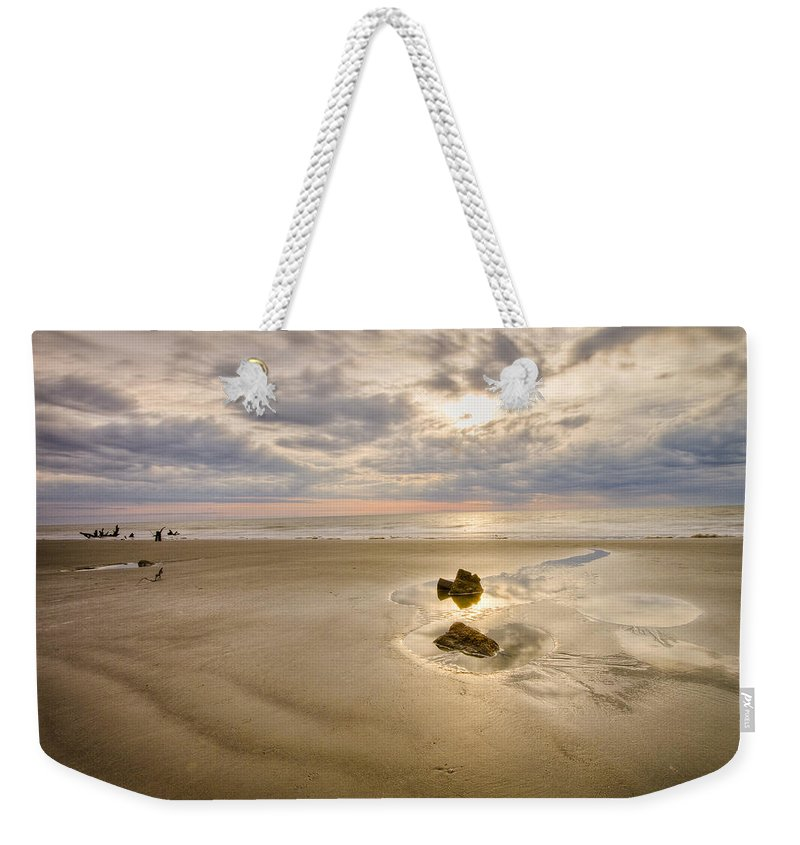 South Carolina Weekender Tote Bag featuring the photograph Debris On The Beach - Hunting Island Sc by Bill Swindaman