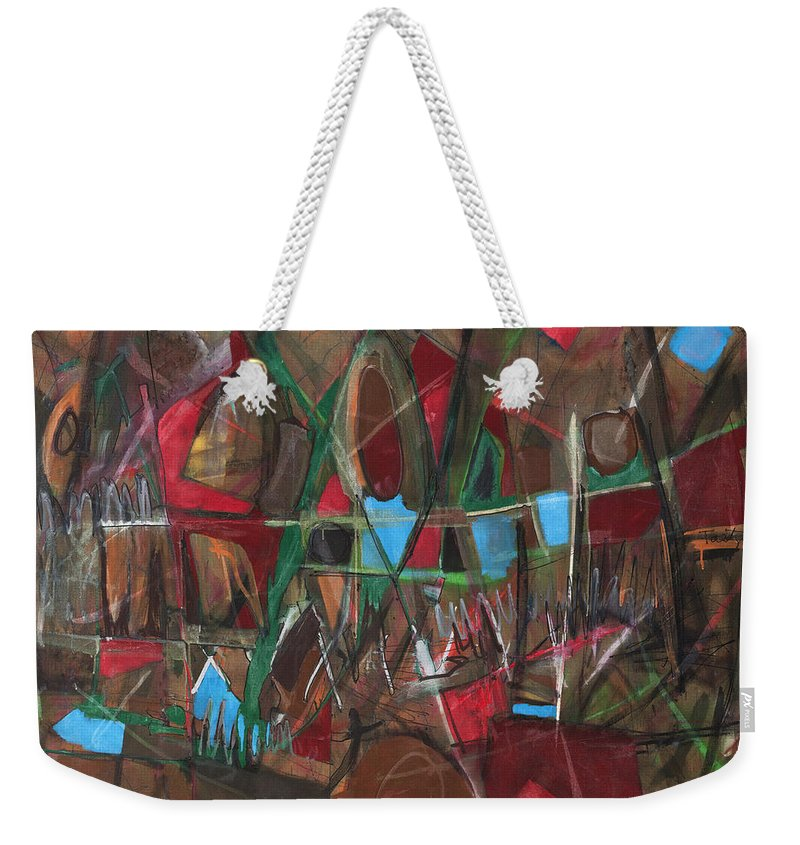 Non-objective Weekender Tote Bag featuring the painting Deep City Three by Lynne Taetzsch