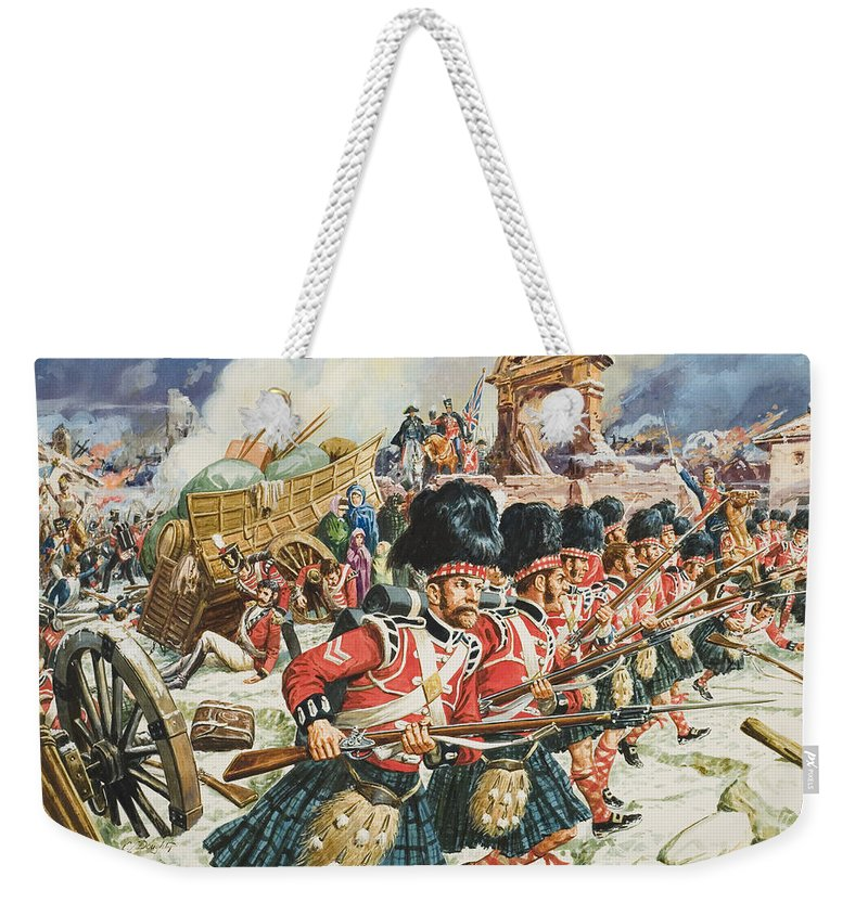 Northwest Spain; Defending; Soldier; Soldiers; Rifle; Rifles ;cannon; Church; Peninsular War; 51st Highlanders; Scottish; Military; Sir John Moore; Traditional; Costume; Dress; Uniform; Regiment; Defense; La Corogne Weekender Tote Bag featuring the painting Defence Of Corunna by C L Doughty