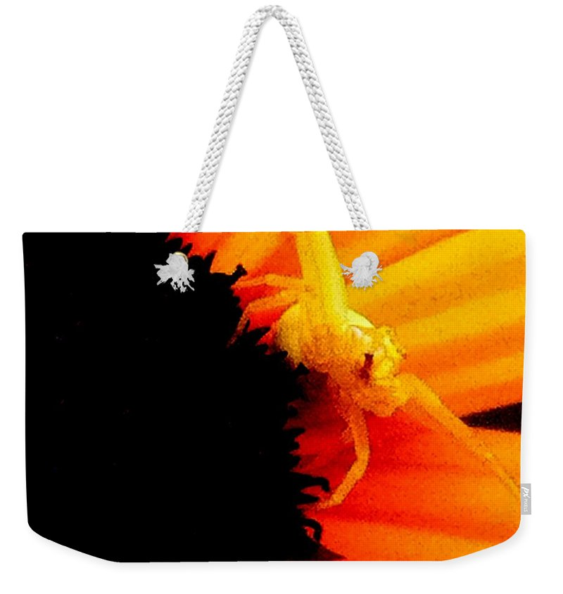 Yellow Weekender Tote Bag featuring the photograph Defense Mode by Kathy Sampson