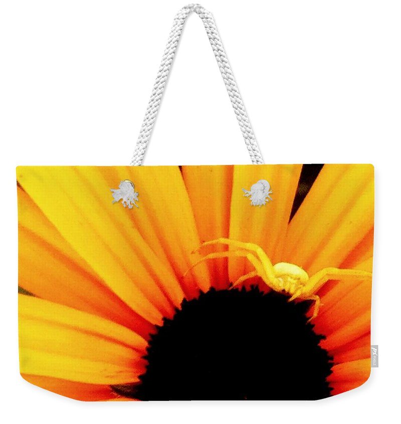 Yellow Weekender Tote Bag featuring the photograph Defense Mode I by Kathy Sampson